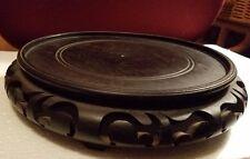 """Large Vintage Chinese Ebony Wood Round Footed Vase Stand Large 9 3/4"""""""