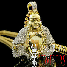 Yellow Gold Sterling Silver Lab Diamond Meditating Laughing Buddha Pendant Chain
