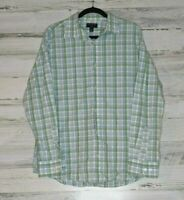 Banana Republic Mens Long Sleeve Slim Fit Button Up Shirt Blue Green Size Large
