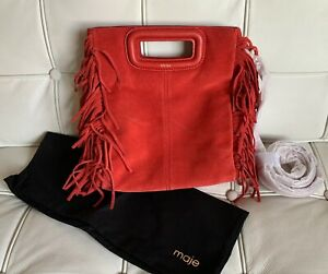 Maje Suede Sac A Franges Fringe Leather Handbag in Corail - NWT