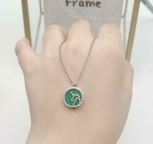 Round Green Unicorn Silver/Rose Gold Titanium Stainless Steel Pendant Necklace