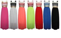 LADIES DRESSES CROCHET NET LACE SLEEVELESS MAXI LONG ABAYA JILBAB DRESS