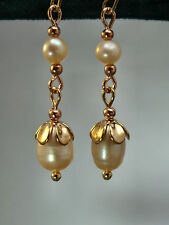 PEARL EARRINGS  Freshwater Cultured Creamy Peach Rose Gold Jewellery E1776