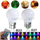 E27/B22 3W Dimmable RGB LED Light Bulb Lamp Color Changing IR Remote AC 85-265V