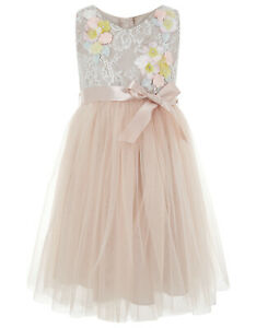 New Girls Monsoon Seren Taupe dress age 5 Bridesmaid & Occasion wear