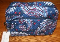 Vera Bradley ICONIC LARGE COSMETIC BAG FIREWORKS PAISLEY case makeup blue New