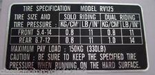 SUZUKI RV125 TYRE PRESSURE CAUTION LABEL