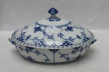Royal Copenhagen Blue Fluted Full Lace Oval Covered Vegetable Serving Bowl Chip