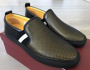 550$ Bally Herald FO 00 Black Perforated Leather Slip on Shoes size US 12