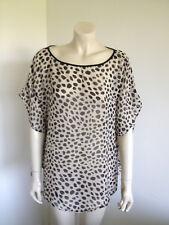 Frangipani Beach Leopard BoHo Chiffon Kimono Sleeve Kaftan Blouse Sequin Size L