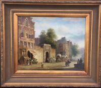 Dutch School, Oil Painting Signed Franklin Working Village Scene