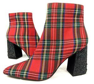 Betsey Johnson Kassie Plaid Rhinestone Block Heel Booties - Size 7 Get funky!