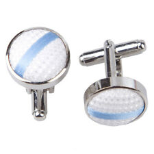 DQT Brass Fabric Inlay Cuff Links Single Stripe White & Baby Blue Mens Cufflinks