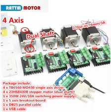4 Axis 76mm Stepper Motor Nema23 270oz-in Dual Shaft+TB6560 Driver+Board CNC Kit