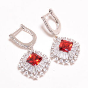 "Mozambique Garnet & White Topaz 925 Sterling Silver Jewelry Earring 1.46"" S1983"