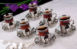 (SET OF 6) Handmade Copper Turkish Tea Glasses Set 6 Tea Serving Cups Saucers