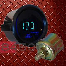 """2"""" Digital Oil Pressure Gauge with Sensor - Blue LED/Black Trim"""