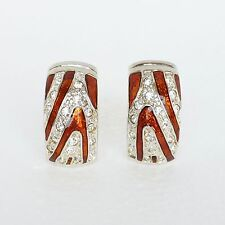 New Joan Rivers J-Hoop Earrings Enamel Swarovski Crystal Bronze Tone Clip On