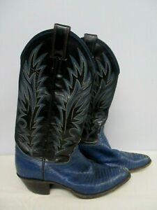 WOMEN'S JUSTIN BLUE TOOLED LEATHER & SNAKESKIN COWBOY BOOTS SIZE 6 1/2 B
