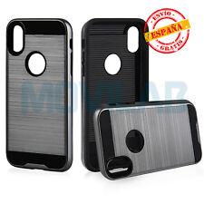 Funda gran calidad Apple iPhone X Antigolpes Slim Armor tipo Spigen gris plata