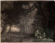 FOREST LANDSCAPE WITH RESTING HUNTERS & ORIGINAL ANTIQUE ETCHING/ENGRAVING