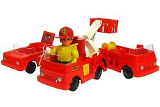 Vintage Eldon Billy Blastoff Firefighter Fireman Set w/Ladder Fire Trucks Works
