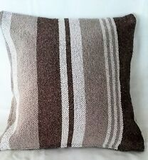 Modern sleek  White dark Brown  Striped Cushion covers heavy fabric 16'' 40cm BN