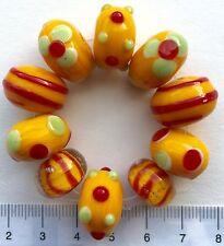 10 x giallo, rosso, verde vetro di Murano, vintage, perle di vetro, 43 GMS 9