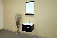 24.4 in Single Wall Mount Style Sink Vanity-Solid Wood-Black *Free Shipping*