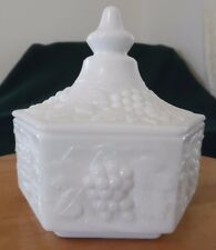 Vintage Grape Milk Glass Lidded Candy Dish by Imperial Glass Ohio