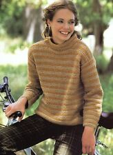 """Crochet Pattern - Ladies Coil-Neck Jumper/Sweater 6 sizes (32""""-42"""" bust) A0154"""
