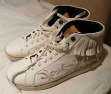 New UGG Cali High Lace Palm Fringe White Leather Sneakers Boots Shoes 11.5