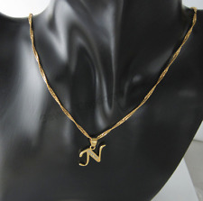 18ct Gold Filled Initial Necklace N, Alphabet Letter Pendant Chain Topaz Dainty