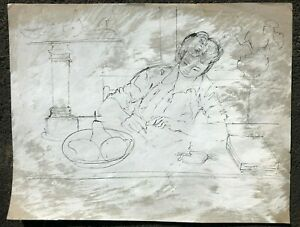 Woman Writing at a Table Modernist Oil Crayon Drawing-1958-August Mosca