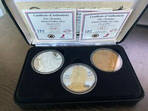 "HIGHLAND MINT ""ERIC LINDROS"" 3 Coin Elite Series Proof Set With 3oz of Silver"