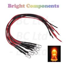 5 x Pre-Wired Orange LED 5mm Ultra Bright : 9V ~ 12V : 1st CLASS POST