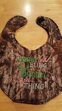 Camo And Bling Is A Huntin Girls Thing Camouflage Embroidery Handmade Baby Bib