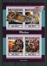 Mozambique 2015 MNH Owls 4v M/S Birds Great Horned Barn Screech Boreal Owl