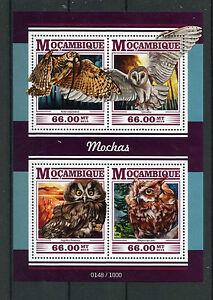 Mozambique 2015 MNH Owls 4v M/S Birds Great Horned Barn Screech Boreal Owl