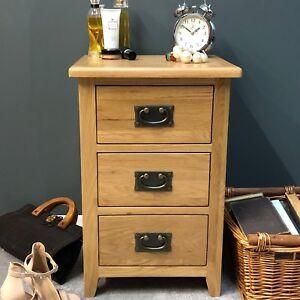 Oak Bedside Table / Light Oak Bedside Cabinet Natural Solid Wood Drawers Grange
