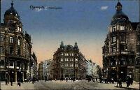 Chemnitz Sachsen Color Postkarte 1915 gelaufen Straßenpartie am Johannis Platz