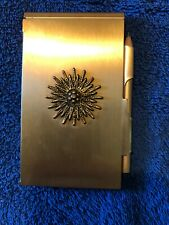 Vintage Hollywood Regency Style Gold-Tone Compact Purse Size Note Pad & Pencil