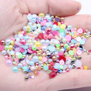 Half Pearl Round Flatback Resin Imitation Pearls Beads DIY Nail Art Jewellery