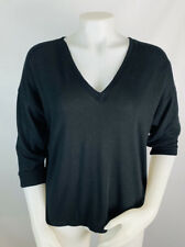 J. Crew Luxe Supersoft V-neck 3/4 Sleeve Sweater Top Size Small Black #J7891