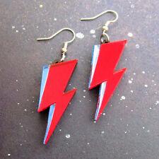Acrylic David Bowie Lightning Dangle Earrings Ziggy Stardust Red & Blue Mirrored