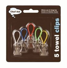 Tea Towel Clips, Kitchen Bath Towels, Cloth Hangers, Hooks, Pack 5, Chef Aid