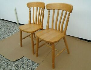 Pair of Beech or Pine Slat Back Country Kitchen Dining Chairs