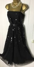 GINA BACCONI Dress Size 14 Fit And Flare Black Sheer Floaty Sleeves Sequin Party