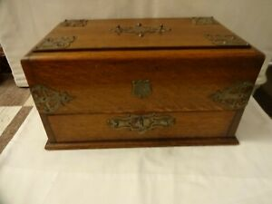 ANTIQUE 1888 OAK DESK TOP BOX WITH SILVER PLATED EMBOSSED DETAIL 17 X 30 x 18 cm