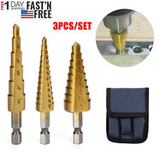 "3Pcs Drill Bit Titanium Nitride Coated Set Steel Step Quick Change 1/4"" Shank Us"